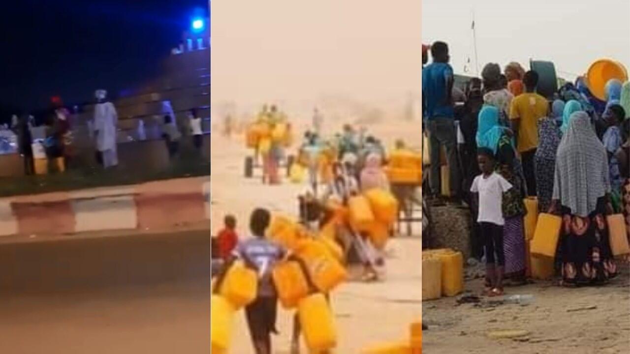 À gauche, des habitants de Nouakchott se regroupent autour d'une fontaine pour remplir des bidons d'eau, le 10 septembre. À droite, des personnes partent à la recherche d'eau dans la capitale mauritanienne le 10 septembre 2020.
