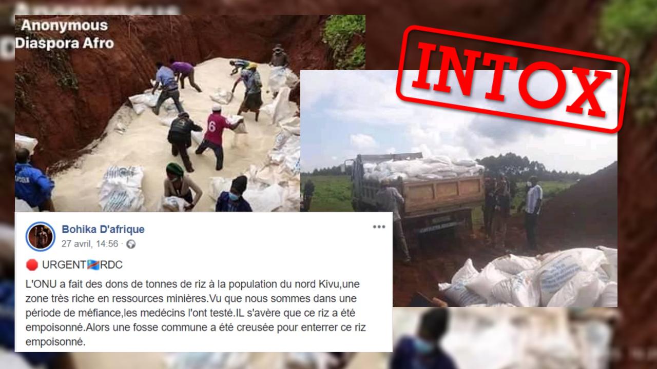 Des internautes prétendent que du riz aurait été empoisonné par l'ONU. Une publication erronée.