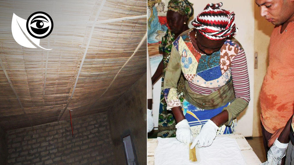 The photo on the left shows dropped ceilings built out of the cattail plant by the NGO Habidem. The photo on the right shows papyrus made out of this invasive species by the Senegalese group la Cerads.