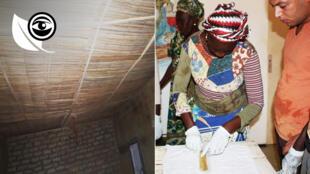 À gauche, l'ONG Habidem en Mauritanie a confectionné des faux plafonds en typha. À droite, la Cerads du Sénégal propose de créér du papyrus à partir du roseau nuisible.