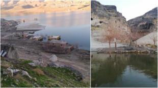 À gauche, vue sur la partie d'Hasankeyf visible avec la baisse du niveau de l'eau en janvier 2021. À droite, des arbres morts après leur submersion refont surface en octobre 2020.