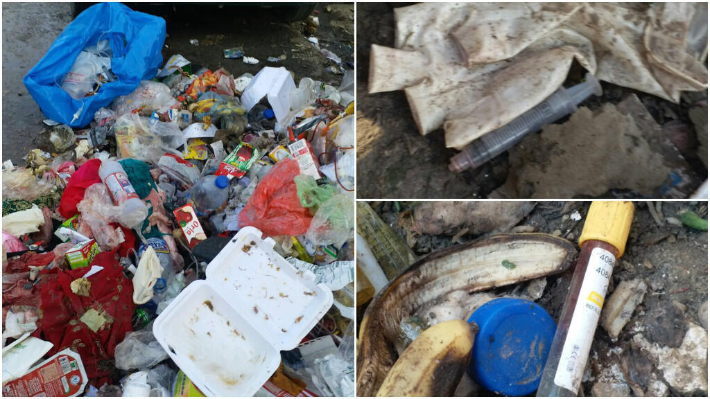 Photos of medical waste outside a hospital in Peshawar, Pakistan, sent by our Observer Musarrat Ullah Jan.