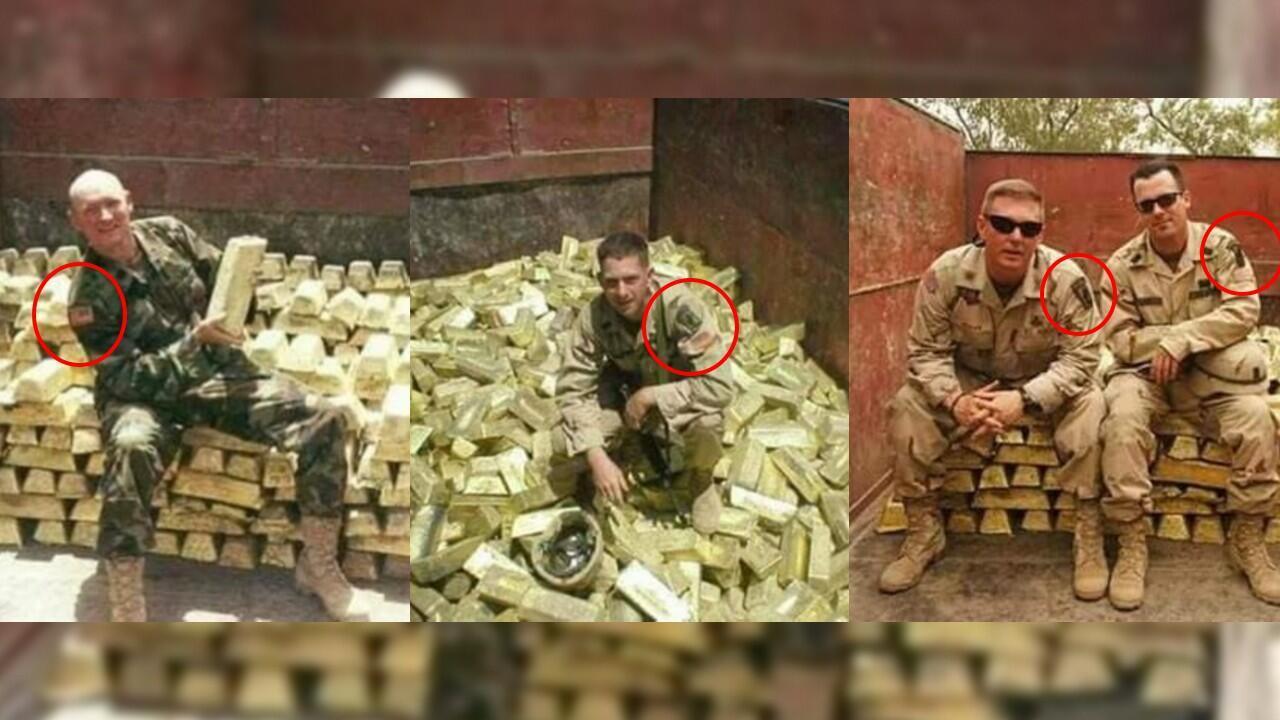 Le drapeau des États-Unis ainsi que le logo d'une brigade de l'armée américaine sont visibles sur les uniformes des militaires de ces trois photos.