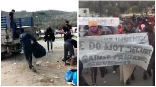 مظاهرة يوم 22 نيسان/ أبريل لطلب الإجلاء. مقطع مصور لمراقبنا.