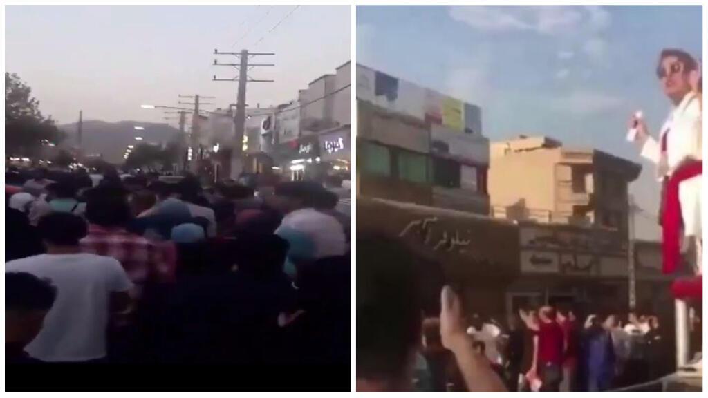Des manifestations début août en Iran, dont une femme qui a osé s'adresser à la foule sans voile à Sadeghiyeh.