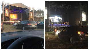 Attendees at this drive-in concert in Lithuania posted these photos on Facebook.