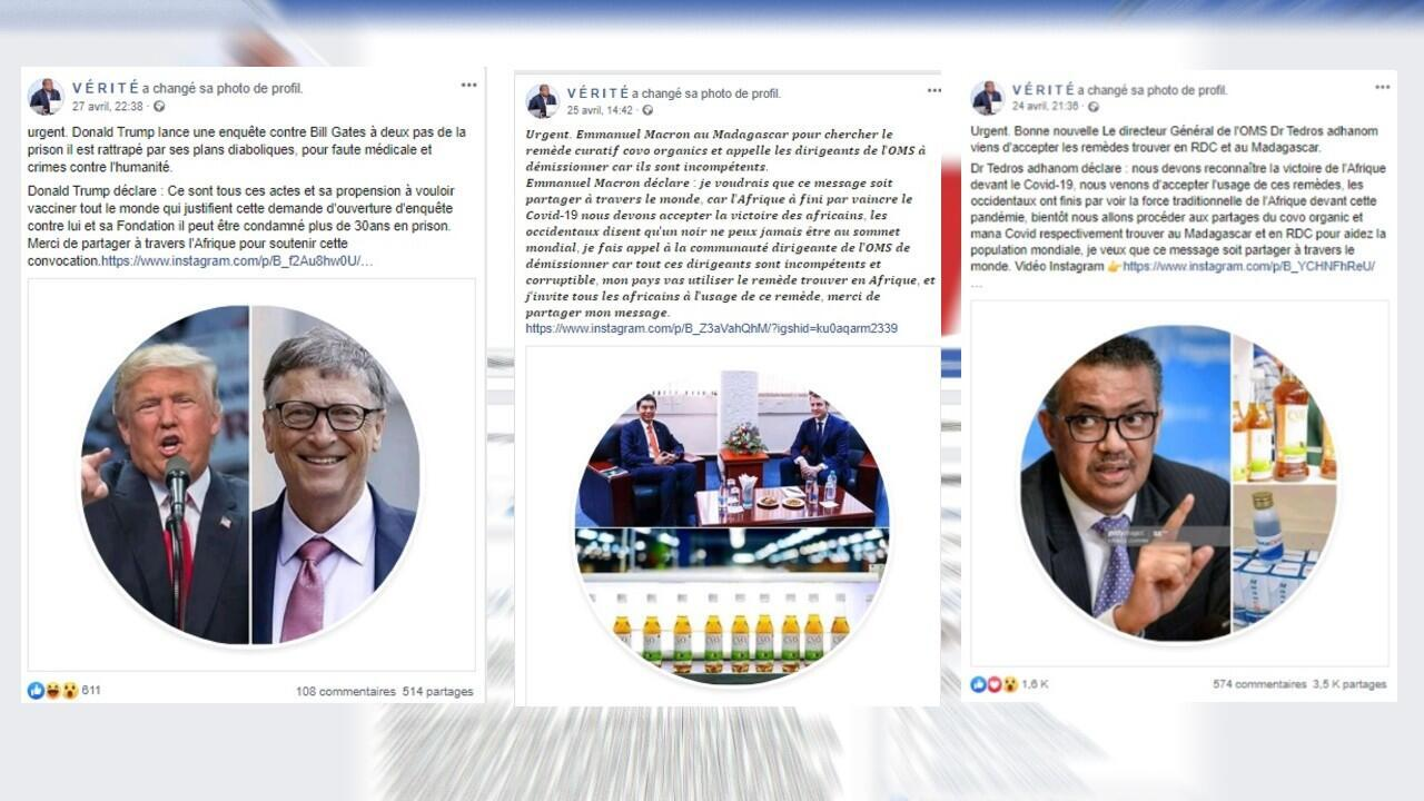 """Three examples of fake posts that went viral that were shared on the """"V É R I T É"""" Facebook page. The posts were deleted May 9 but the page was still online as of that date."""
