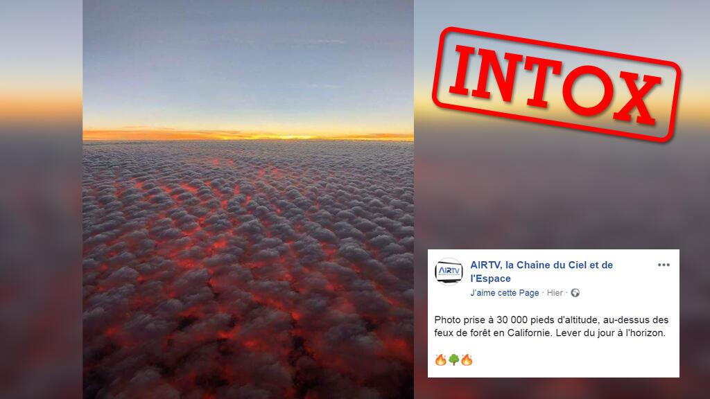"""Cette """"incroyable photo"""" montrerait les incendies en Californie d'août 2018 sous les nuages... on vous explique comment vérifier cette photo sur votre smartphone."""