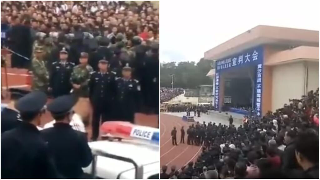 These screengrabs were taken from the two videos below, which were filmed in Lufeng, in Guangdong province, in southwestern China on September 16.