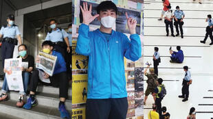 "(Left to right) October 4 Facebook image of David, or ""Lunch Brother"", and a friend reading newspapers in protest in front of police; David making ""5 demands, not one less"" gesture; October 5 image of David protesting at Maritime Square shopping mall."