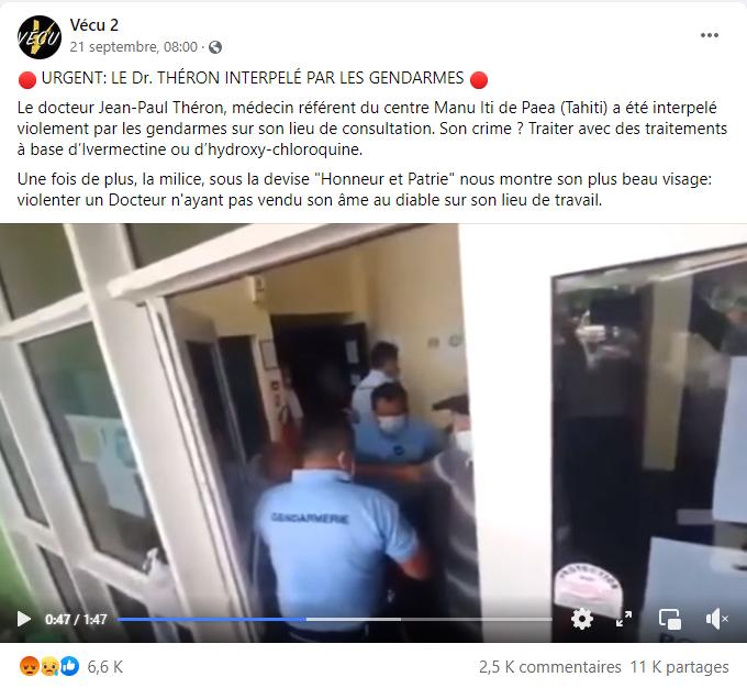 Capture d'écran de la publication Facebook de Vécu 2 le 21 septembre 2021, qui a suscité la diffusion et le partage massif de la vidéo de l'arrestation de Jean-Paul Théron.