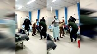 An amateur video showing people wearing masks dancing together in a hospital room sparked a lot of conversations on social media.