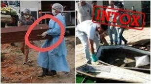 """L'agence de vérification brésilienne Lupa a vérifié plusieurs images censées montrer des """"cercueils vides"""" enterrés au Brésil. Captures d'écran / Lupa / réseaux sociaux."""