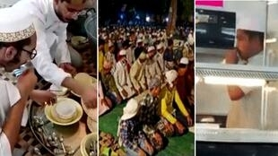 During the pandemic, Muslims in India have been accused of everything from breaking stay-at-home orders by organising nighttime prayer gatherings (centre image) to licking utensils in a deliberate attempts to spread Covid-19.