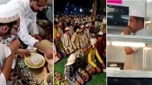 في ظل اتهامات بإقامة صلوات في الليل (وسط)، وبلعق الأواني (يسار)، وبنشر مرض كوفيد-19 عبر لعابهم (يمين)، أصبح المسلمون في الهند ضحية دورية لمعلومات مضللة طيلة فترة هذه الجائحة.