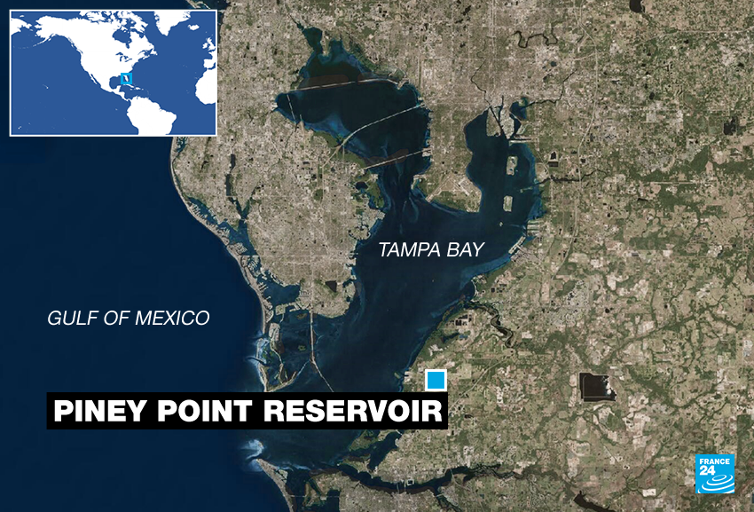 The Piney Point wastewater reservoir is located in southern Tampa Bay.