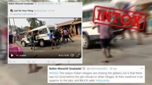 """""""Si les villageois indiens chassent le personnel médical chargé de les vacciner, c'est que dans les autres villages, le Covid n'existait pas avant le début de la vaccination"""", est-il écrit dans le tweet qui suit la vidéo."""