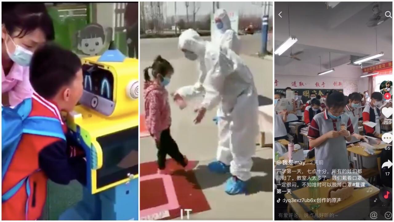 Robots thermomètres, désinfection des chaussures et file pour entrer dans les bâtiments... Les écoles chinoises prennent des mesures strictes pour empêcher une potentielle contamination.