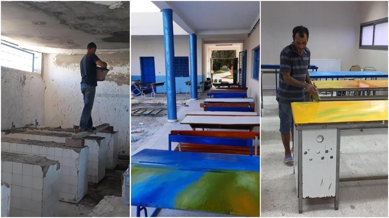 Pendant plusieurs mois, des bénévoles ont rénové le collège de Sayada. Photos envoyées par notre Observateur.