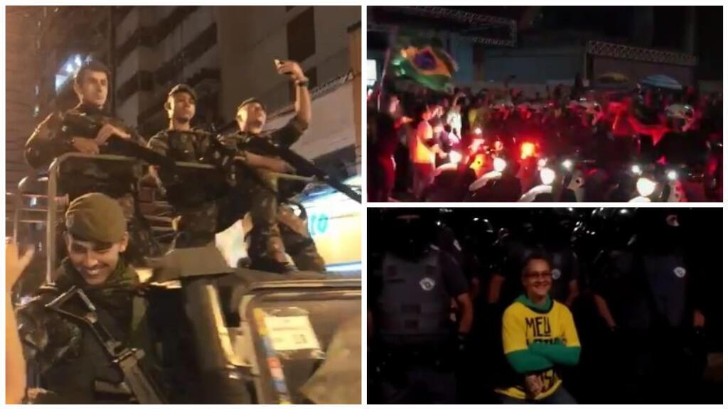 Des militaires et des officiers de police militaire célébrés à Niteroi et Sao Paolo, dimanche 28 octobre, après la victoire du candidat d'extrême droite, Jair Bolsonaro.