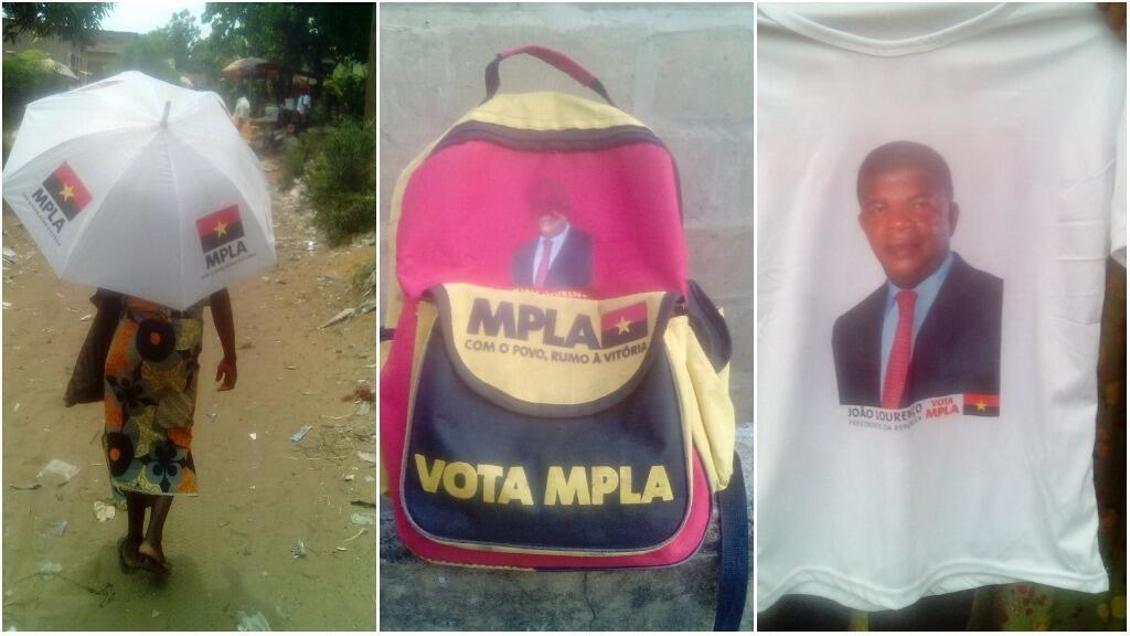 De nombreux vêtements et accessoires du MPLA, le parti politique au pouvoir en Angola, sont visibles à Kinshasa depuis plusieurs mois. Toutes les photos publiées dans cet article ont été prises par Felix Kabena, à la mi-février.