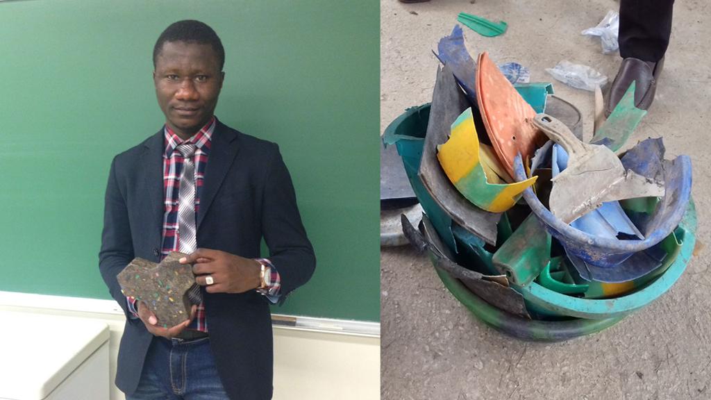 Moussa Thiam tient dans sa main un bloc de ciment... dedans se trouvent les objets plastiques que vous voyez à droite.