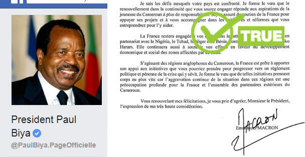 On October 29, Cameroon's president Paul Biya published a letter of congratulations he had received from French President Emmanuel Macron on his Facebook page. Many Cameroon internet users doubted its authenticity.
