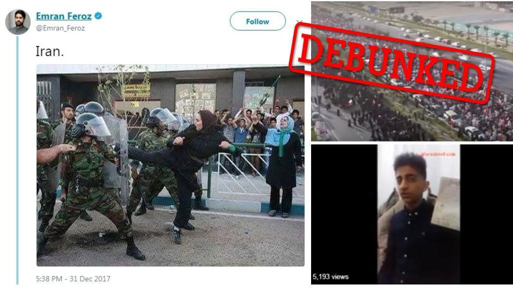 The 'karate woman' on the left is actually a still from a film; the image of a protest top-right was taken in Bahrain in 2011; and the boy bottom-right published this video to prove that he wasn't dead, as was reported in some outlets.