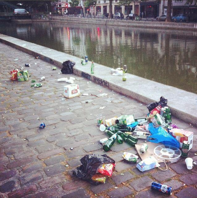 """Rubbish on the banks of the Canal Saint-Martin. Photo posted on the Instagram account and the Tumblr """"Welcome to Canal Saint-Martin""""."""