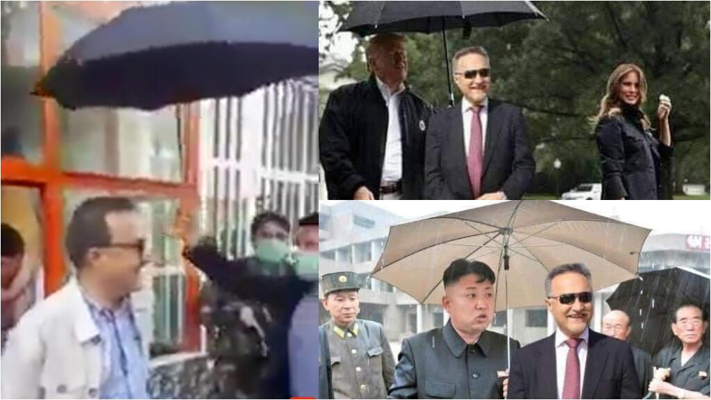 """À gauche, capture d'écran de la vidéo montrant un homme protégeant le maire avec un parapluie. À droite, les réactions d'internautes afghans moquant """"l'attitude aristocratique"""" du maire de Kaboul."""