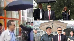 """At left, a screengrab from an amateur video posted May 7, 2020 showing a man sheltering Kabul Mayor Mohammad Dawood Sultanzoy with an umbrella. At right, messages by Afghan web users mocking the mayor for having an """"aristocratic attitude""""."""