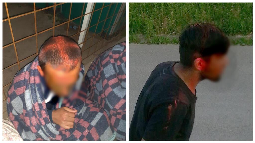 """صور لمهاجرين تعرضوا للرش بالدهان، أرسلتها مصادر مجهولة للمنظمة غير الحكومية """"نو نايم كيتشن"""". تمت تغطية وجوهم للحفاظ على سرية هوياتهم."""