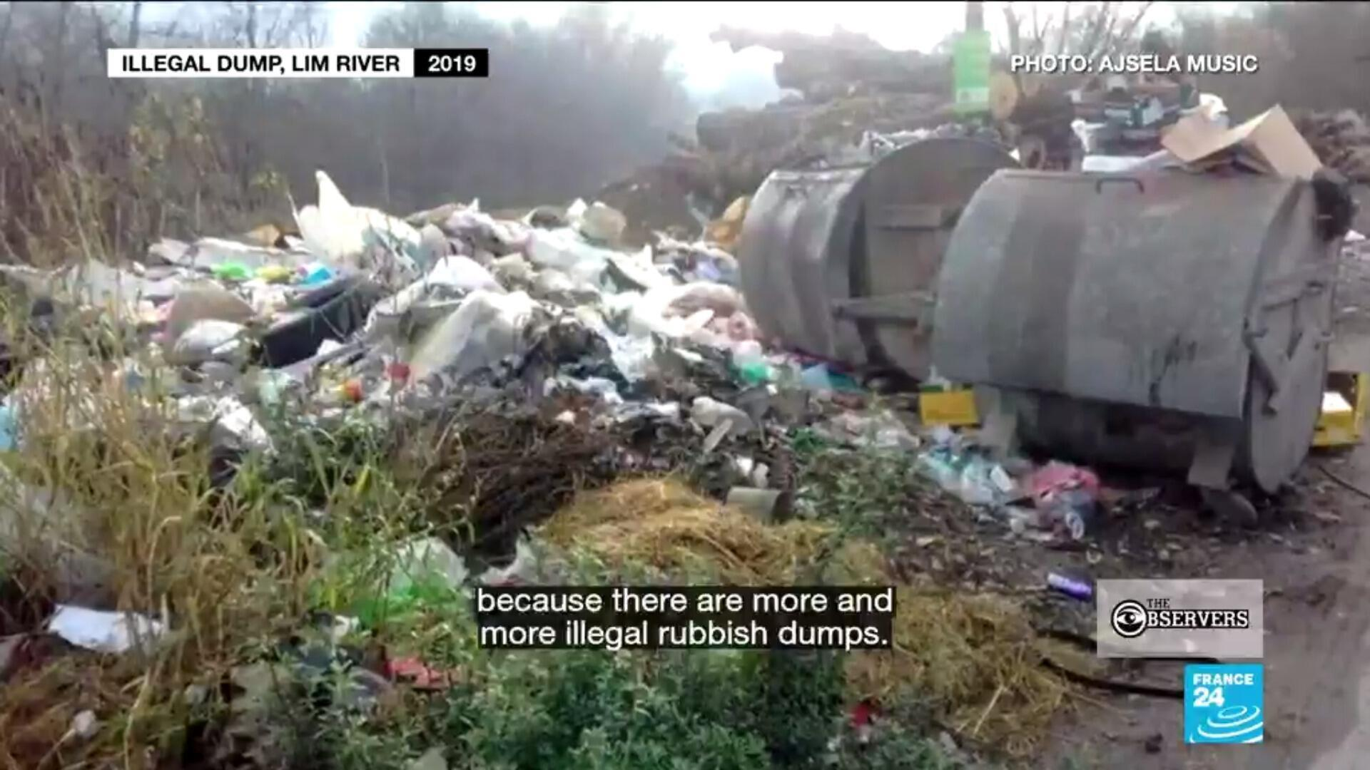 An illegal dump site along the River Lim, likely the source of the garbage that's flooded Potpeć Lake in Serbia.