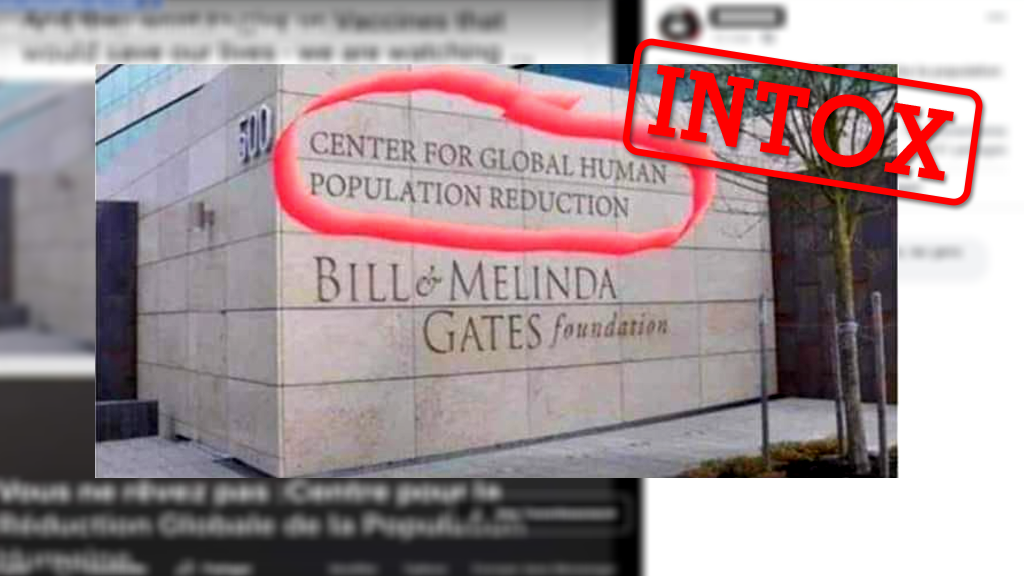 """Une photo de la fondation Bill et Melinda Gates prétend qu'il existerait un département pour la """"réduction de la population mondiale"""". C'est faux."""