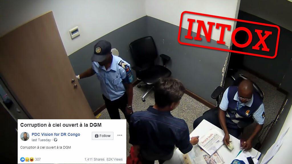 Capture d'écran de la vidéo montrant deux douaniers extorquer de l'argent à un voyageur