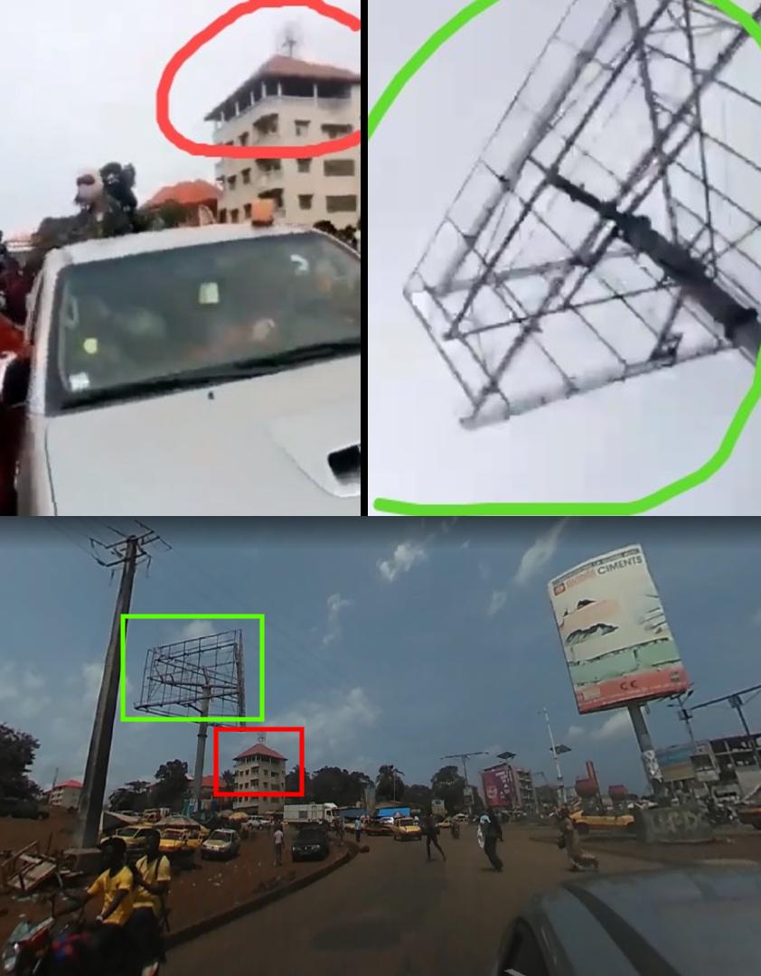 En haut à droite et à gauche, capture d'écran de la vidéo virale. En bas, capture d'écran du même endroit au rond-point de Bambéto sur Google Street View.