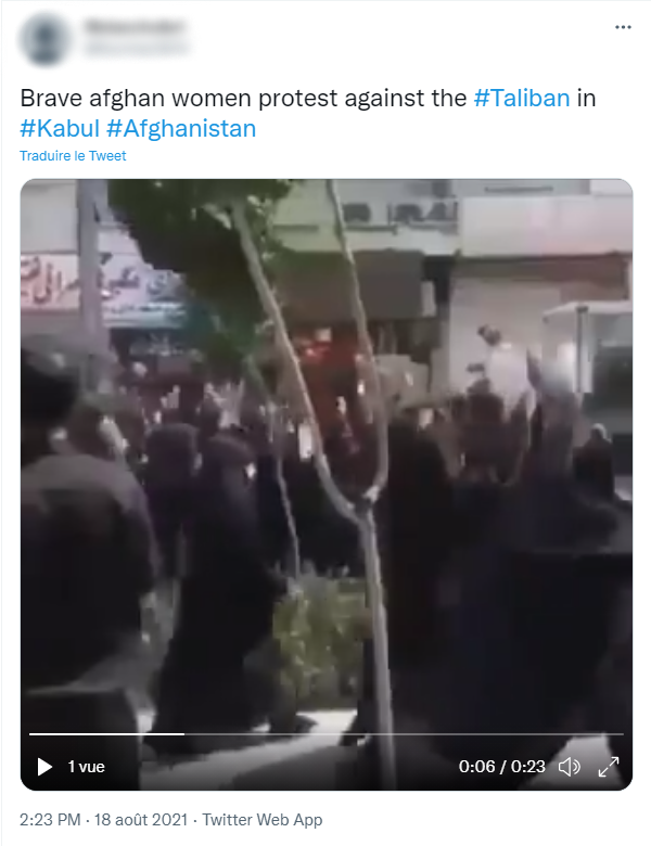 """A video posted on Twitter on August 18, 2021 is captioned: """"Brave Afghan women protest against the #Taliban in #Kabul #Afghanistan."""" The video does show Afghan women protesting the Taliban, but they were actually in Iran."""