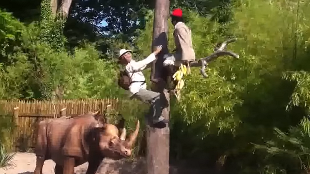 Screen capture from the video of the 'Africa Cruise' ride at Nigloland, France.