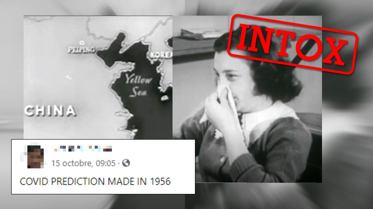 """Un reportage """"diffusé en 1956"""" aurait prédit la pandémie de Covid-19 selon des internautes. Mais il s'agit d'une vidéo satirique assemblant plusieurs vidéos d'archives et datant de 2020."""