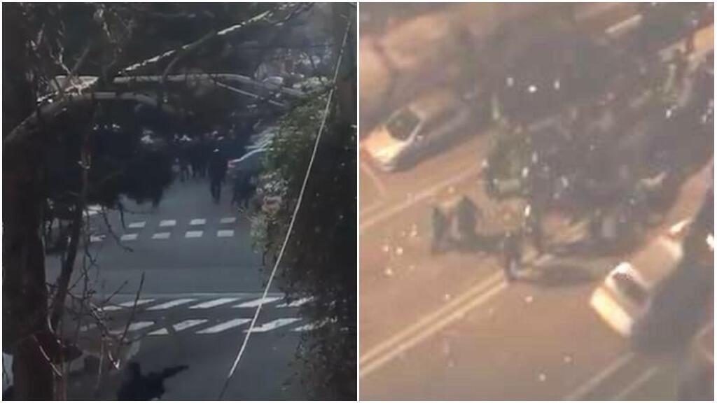 عدد من دراويش غونابادي يرشقون الشرطة الإيرانية بالحجارة، وسيارة تندفع نحو قوات حماية النظام، 19 شباط/فبراير 2018