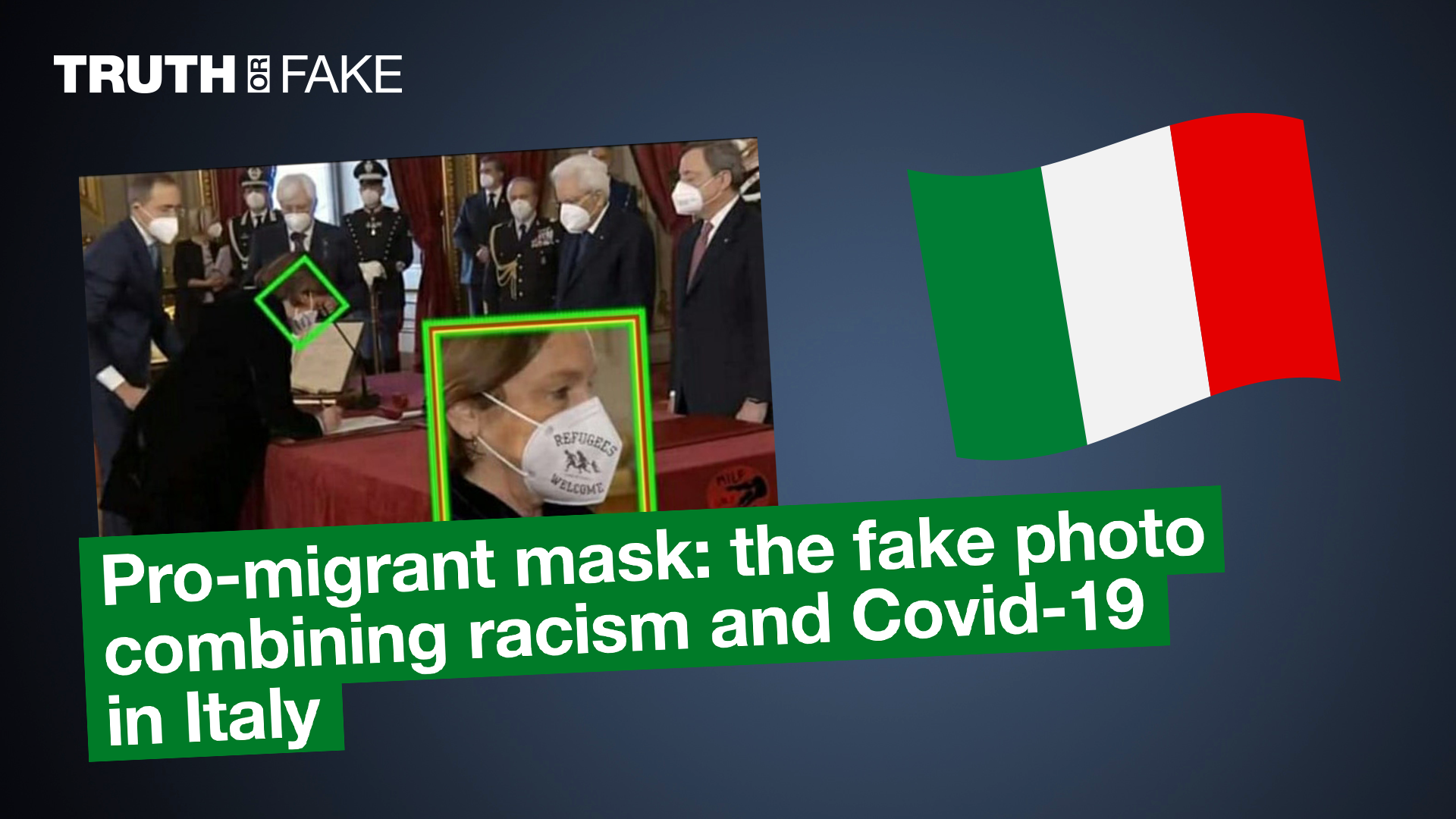 Pro-migrant mask: the fake photo combining racism and Covid-19 in Italy