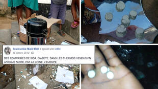 """Screengrabs of photos and videos showing people breaking their thermoses and finding little white pellets. Translation of a message accompanying one of these videos: """"Pills containing AIDS and diabetes in thermoses sold in Africa, by China and Europe""""."""