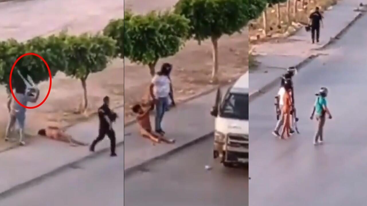 These are screengrabs from the videos showing police brutalising a 15-year-old named Fadi in Sidi Hassine, a neighbourhood of Tunis, on June 9, 2021. The image at the right shows a police officer removing the teenager's trousers and throwing them at his face.