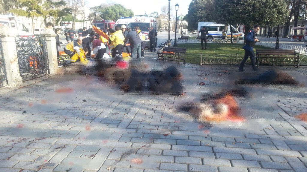A young Turkish man took this photo of victims of the suicide blast when he went to help survivors in Istanbul's Sultan Ahmet Square on January 12, 2016 (photo blurred by Team Observers)
