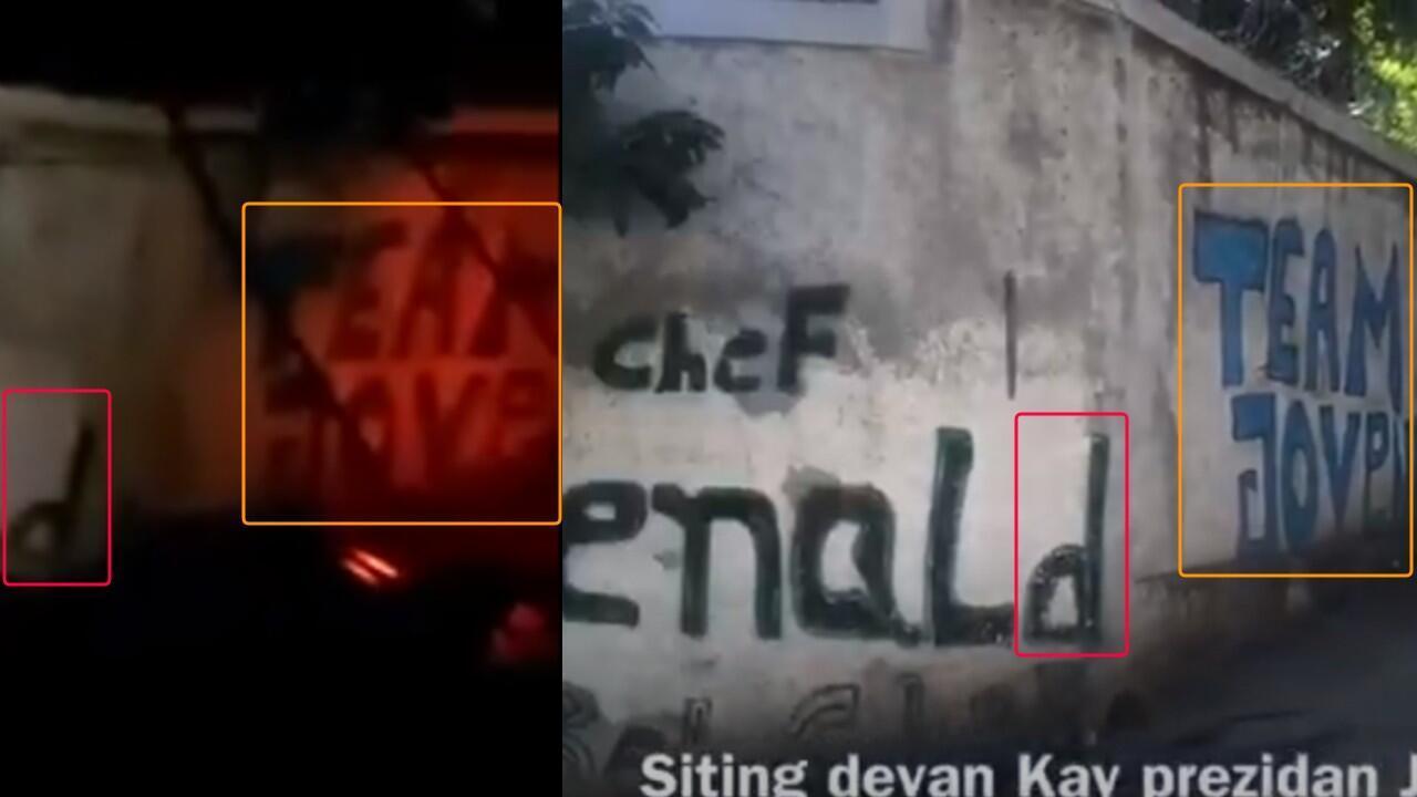 À gauche, une capture d'écran de la vidéo sur laquelle on distingue plusieurs groupes de lettres et, à droite, les mêmes lettres visibles dans une vidéo filmée en juin 2020 à l'occasion d'une manifestation devant le domicile présidentiel.