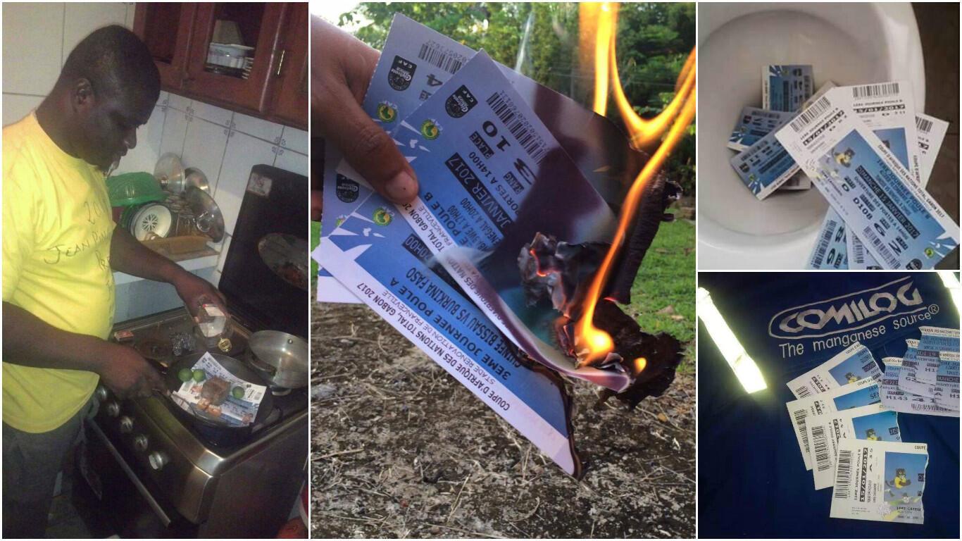 Dans une poêle, les toilettes ou en y mettant le feu, des Gabonais mettent en scène la destruction de leurs billets pour la CAN-2017.