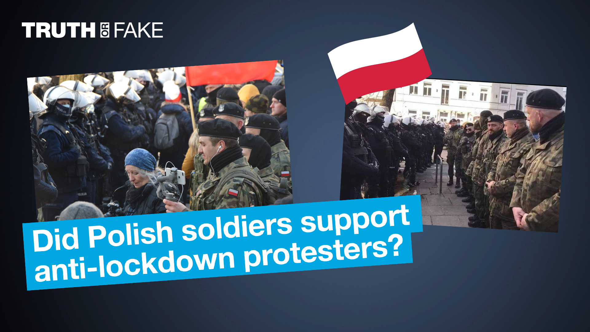 A photo posted on Facebook in early April allegedly shows Polish soldiers standing up to police officers to defend protesters marching against Covid-19 restrictions.