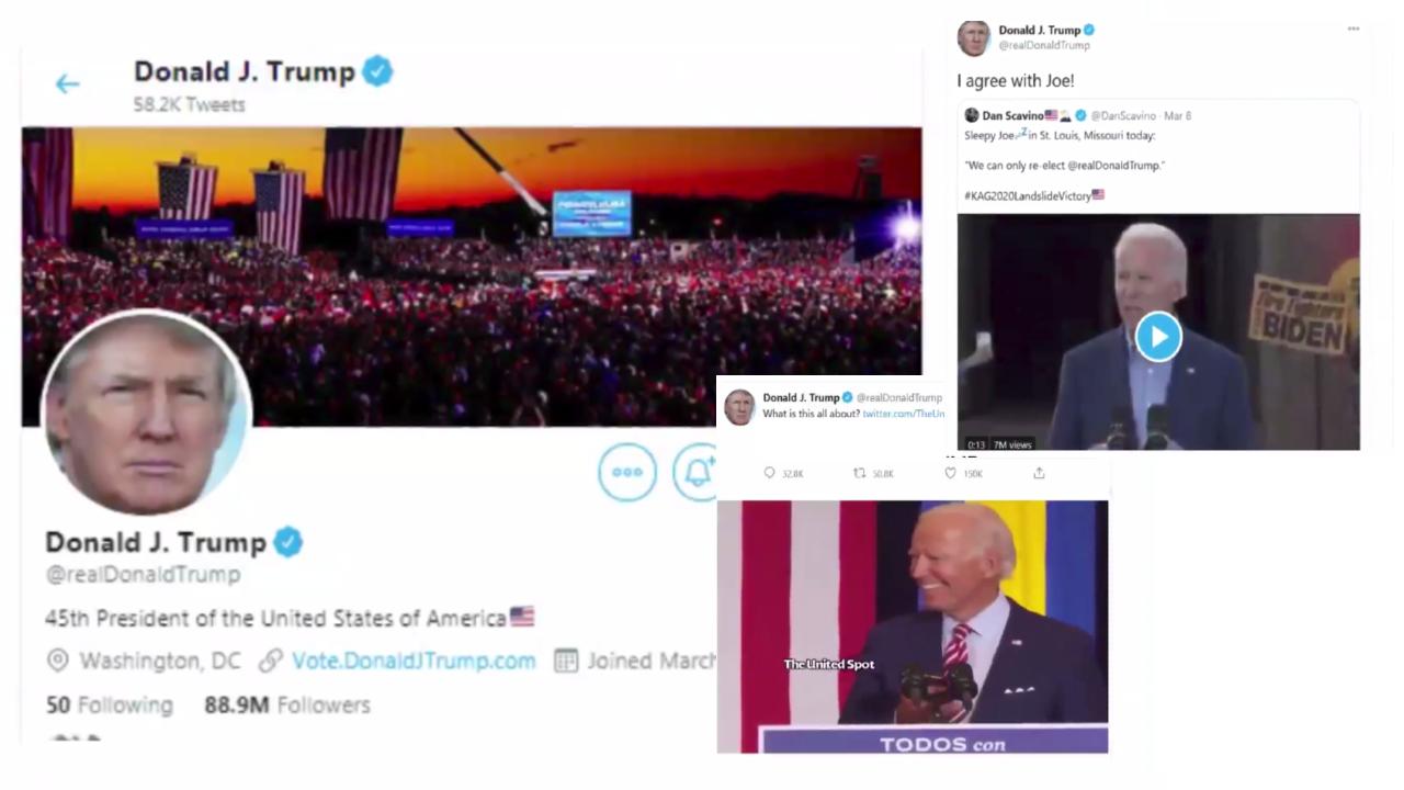 """Deux exemples de tweets relayés par Donald Trump et épinglés comme """"manipulés"""" par Twitter ."""