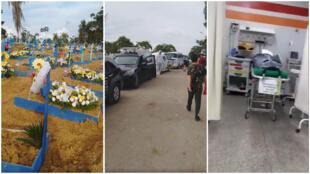 Le cimetière Parque de Tarumã de Manaus le 19 avril, avec ses longues files de voitures funéraires; un corps dans un hôpital de la ville. Captures d'écrans / réseaux sociaux.