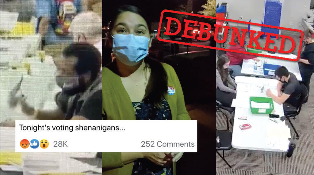 Screengrabs of three viral videos that allege U.S. election worker fraud. Following investigations, all three claims were revealed to be false.